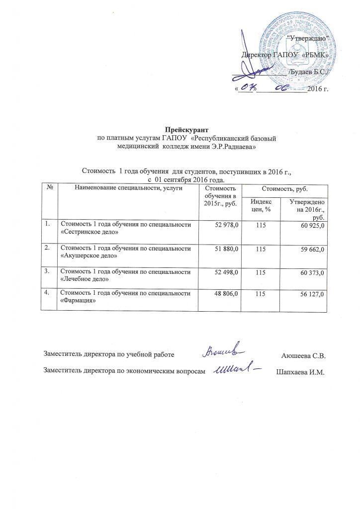 Прейскурант цен СПО, с 01.09.2016